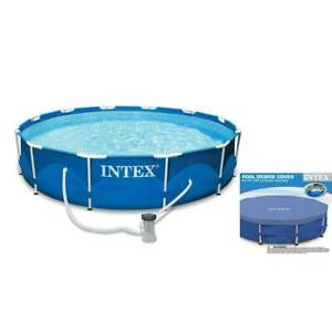 Intex 10ft x 30in Metal Frame Swimming Pool Set with Filter and Debris Cover