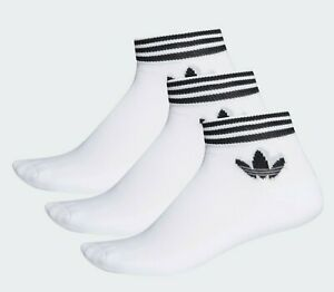 ⚫GENUINE ADIDAS ORIGINALS TREFOIL ANKLE SOCKS 3 PAIRS - White SLEEK SPORTY