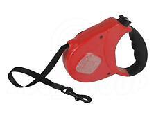Dog Lead Leash Auto Retractable Heavy Duty Comfort Grip, Reflective 3M, Red