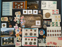 ESTATE LOT U.S. and foreign coins stamps covers proofs and more with silver. NR