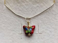 Stunning Cloisonne Ruby Red Butterfly Pendant & 925 Silver Chain.-)