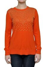 Michael Kors Studded Crew Neck Knit Sweater Pullover Mandarin Orange XS Nwt $130
