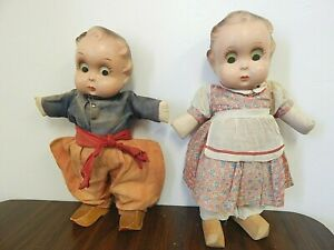 """Lot of 2 1930s Freundlich 16"""" Compo. Goo-Goo Dolls in Dutch Outfits w/Wood Shoes"""