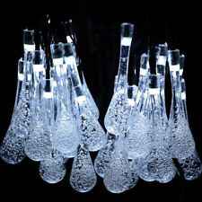 Solar Powered String Light Waterproof White Tear Water Drop Garden Decor 20 LED