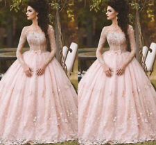 Pink Long Sleeve Prom Quinceanera Dress Appliqued Evening Ball Gown Custom Size