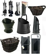 More details for companion set 4 piece set black fireside poker brush shovel cast iron tools