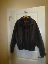 Men's Double Collar Leather Motorcycle Jacket Size XL Dark Brown