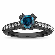 Enhanced Fancy Blue Diamond Engagement Ring 0.80 ct 14K Black Gold Vintage Style