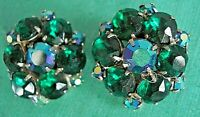 Vintage Juliana Green Aurora Borealis & Green Rhinestone Cluster Clip Earrings