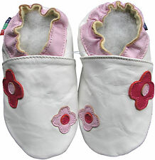 shoeszoo 2 flowers white 12-18m S soft sole leather baby shoes