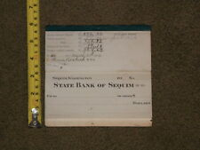 STATE BANK OF SEQUIM WASHINGTON CHECK BOOK ADVERTISMENT WITH STUBS 1924