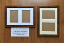 "Double Aperture Mounted Picture Frame Dark Rustic Wood finish - for 7x5"" prints"