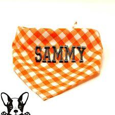 Personalised Handmade Embroidered Dog Bandana Neckerchief  Orange & White Check
