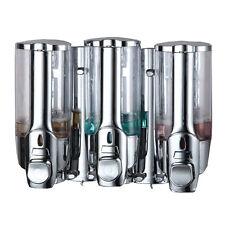 NEW 3 Chamber Dispenser Pump Caddy Chamber Liquid Soap Shampoo Conditioner