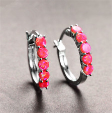 1 Pair Woman Fashion 925 Silver Jewelry Red Fire Opal Charm Stud Earring NEW ~~!