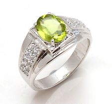 Solid 925 Sterling Silver Natural Gemstone Peridot Cz Men's Ring Jaipur Jewelry