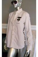A BATHING APE Mens Long Sleeve Shirt - Medium - White - Bape - Aape