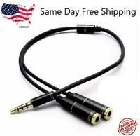 """Headphone Splitter Stereo Audio Jack Y Adapter Cable 3.5mm 1/8"""""""