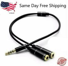 Headphone Splitter Stereo Audio Jack Y Adapter Cable 3.5mm 1/8""