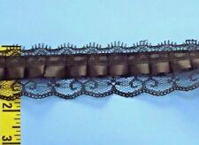 "1-3/4"" Black Lace Beading Lace Edging Scalloped Satin Box Pleat Ribbon 2 yd #N39"