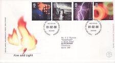 GB francobolli primo giorno di fuoco di copertura e luce, Treno, condizioni meteorologiche SHS MILLENNIUM 2000