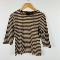 Sportscraft Womens Top Size Small Striped Brown White Long Sleeve Stretch