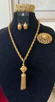 """Vintage Signed """"Monet"""" Gold-tone Bracelet, Brooch Clip Earrings Set"""
