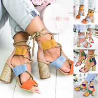 Women Sandals Block Chunky High Heel Ankle Open Toe Bandage Sandals Shoes Size