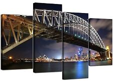 Large Blue Sydney Harbour Bridge Canvas Wall Art 130cm Pictures 4041