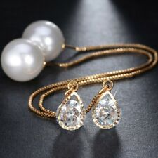 LANGE OHRSTECKER für Frauen 3x Gold beschichtet Perle Strass Damen Ohringe | NEU