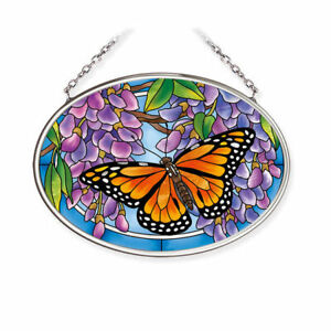 """AMIA Suncatcher WINGS OVER WISTERIA Monarch Butterfly Hand Painted Glass 4.5"""" L"""
