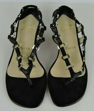 Christian Louboutin Paris Black Sandals Metal Links and Leather Strap Size 36