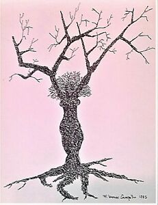 Surreal Female Tree original 1985 Lennox Campello drawing WHO'S WHO IN ART list!