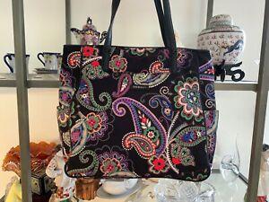 Vera Bradley Kiev Tote Bag Poly Zip Top Handbag Purse Kiev Paisley Nylon