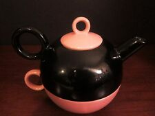Shabby Chic Tea for One Set in Black and Pink Stacking Teapot and Cup in One