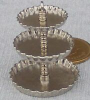 1:12 Scale Empty Three Tier Metal Cake Stand Dolls House Miniature Accessory New