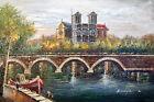 Paris Notre Dame Cathedral River Seine Bridge 24X36 Oil Painting STRETCHED