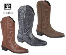Para hombres Cuero Pantorrilla Tacón Alto Botas de vaquero occidental Woodland Tallas 6-12 UK