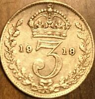 1918 UK GREAT BRITAIN SILVER THREEPENCE