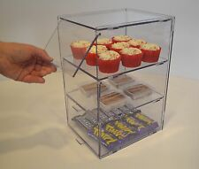 Clear Food Safe Bakery Display Case / Cabinet For Cupcakes Pastries - 3 Tiers