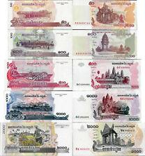 Cambodia set 5 pcs 50+100+500+1000+2000 riels - Pick 52-59 Unc random years