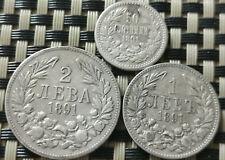 BULGARIAN KINGDOM LOT OF 3 SILVER COINS 1891 PRINCE FERDINAND I 1887-1908 AD.