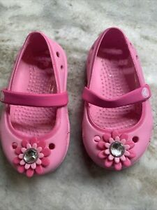 Pink Mary Jane Crocs With Flower Jewel Toddler Girl Size 4