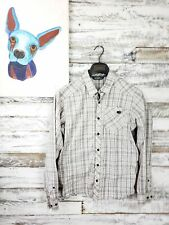 Arc'Teryx Mens Button Down Shirt Long Sleeve Gray Beige Plaid Size Small