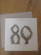 Alphabet Art 80th Birthday Trees Gardening Card 15 cm x 15 cm