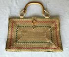 Fabulous Vintage Italy Valerie Rattan Woven Wicker Large Tote Bag Wood Handles