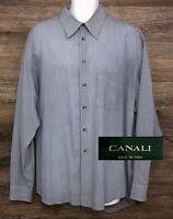 CANALI Men's Blue-Gray Long Sleeve Button Front Luxury Italian Shirt 44 17.5