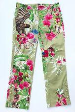 ROBERTO CAVALLI Multi-colored Printed Cropped Cotton Pants Sz IT 44, U.S 8 EUC