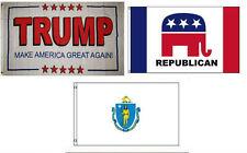 3x5 Trump White #2 & Republican & State Massachusetts Wholesale Set Flag 3'x5'