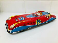 Vintage Tin Plate Friction Racing Car With HTF Driver Figure Gt Britain Toy